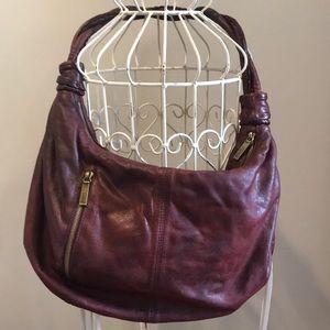 Hobo Leather Shoulder Bag In Wine
